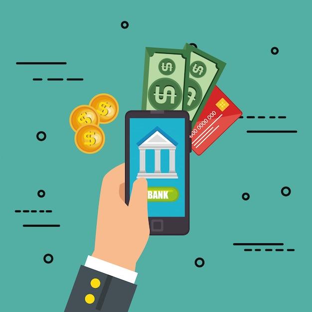 Ahorre dinero en línea con el teléfono inteligente vector gratuito