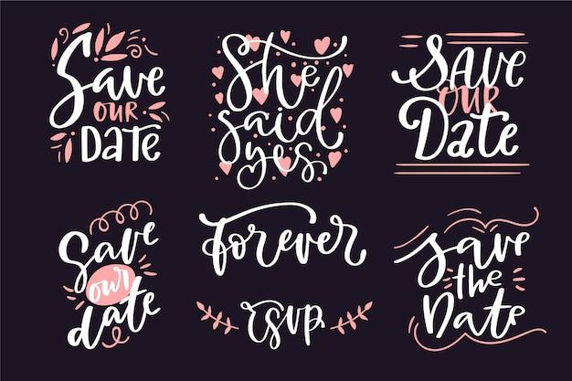 Ahorre la fecha colección de letras de boda vector gratuito