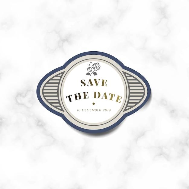 Ahorre la fecha etiqueta de la etiqueta engomada del vintage de la invitación de la boda vector gratuito