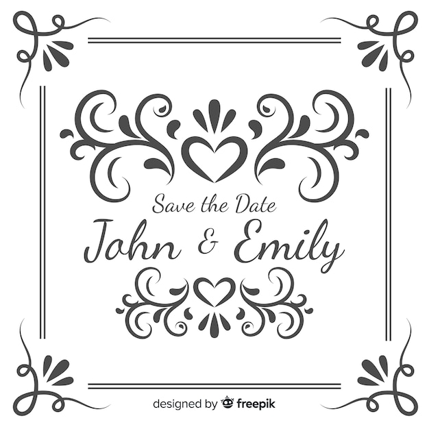 Ahorre la fecha de invitación de boda vector gratuito