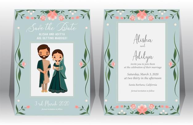 Ahorre la fecha, tarjeta de boda india con linda novia y novio en traje tradicional en plantilla de tarjeta de invitación de boda Vector Premium