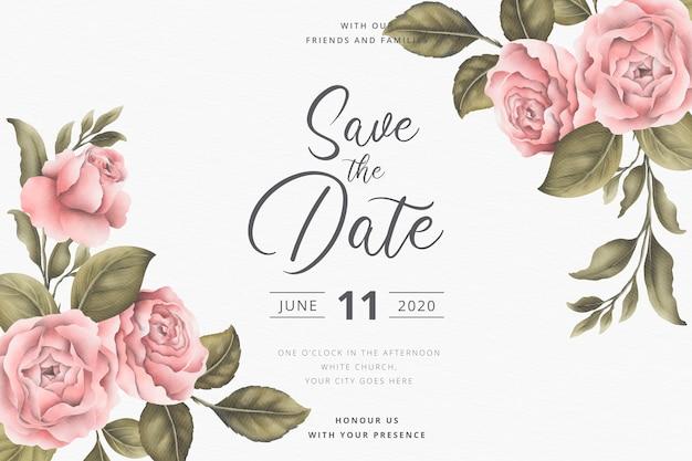 Ahorre la tarjeta de invitación de fecha con peonías vintage vector gratuito
