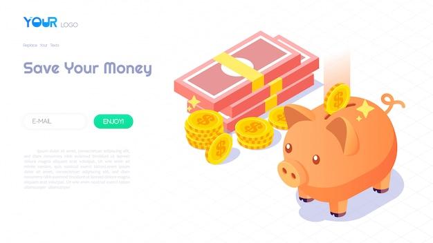 Ahorro de dinero con el concepto de hucha, hucha isométrica moderna, dinero y monedas sobre fondo abstracto para plantilla de sitio web. ilustración vectorial Vector Premium
