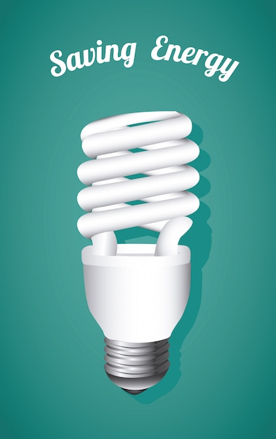 Ahorro de energía, bombilla en azul vector gratuito