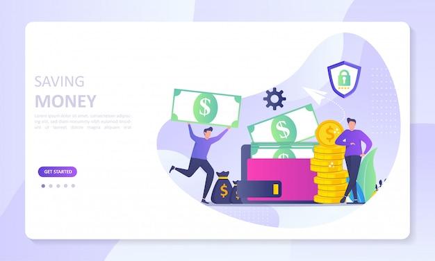 Ahorro financiero dinero a la página de inicio del banner de billetera electrónica Vector Premium