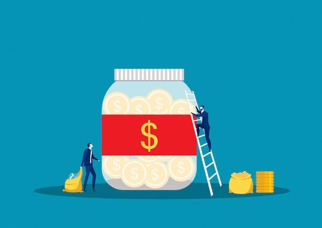 Ahorro invirtiendo dinero. frasco, banco de botellas con dinero, el hombre toma dinero. para jar making saving, ilustración vectorial Vector Premium