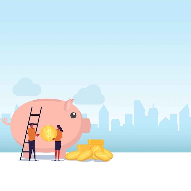 Ahorro pareja plana toma monedas y se pone en hucha gigante. Vector Premium