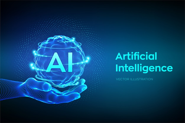 Ai. logotipo de inteligencia artificial en mano. Vector Premium