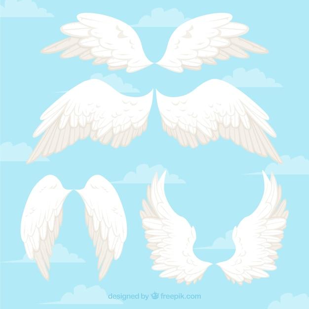 Alas de ángeles de color blanco vector gratuito