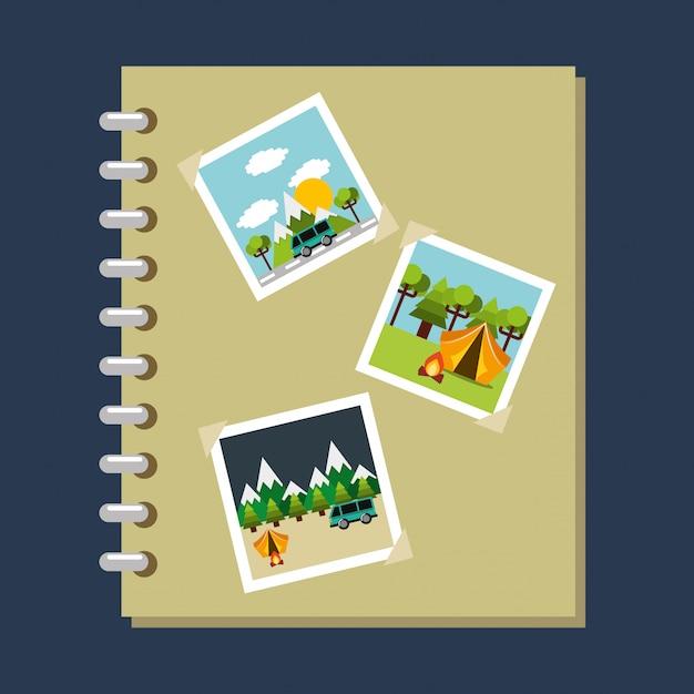 Album de fotos galeria viajes vacaciones Vector Premium