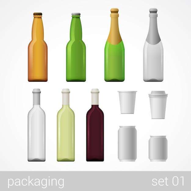 Alcohol vino champán cerveza café bebida botellas de vidrio lata de metal paquete de cartón de papel conjunto vector gratuito