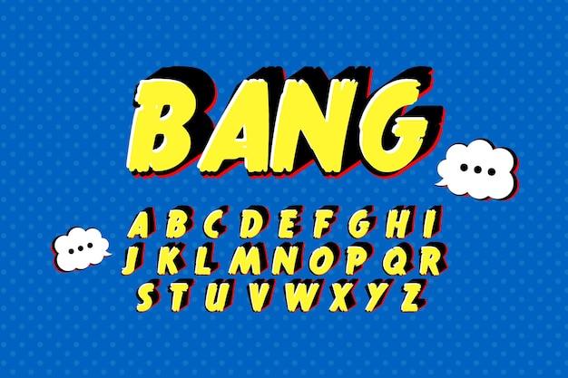Alfabeto 3d cómico del concepto de la a a la z vector gratuito