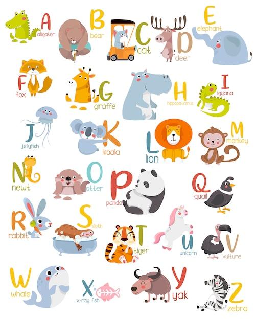 Alfabeto animal gráfico de la a a la z. Vector Premium
