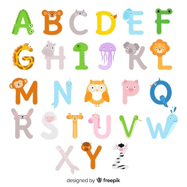 Alfabeto animal ilustrado de la a a la z vector gratuito