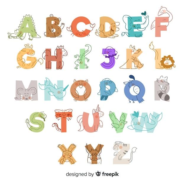 Alfabeto animal lindo dibujado a mano vector gratuito