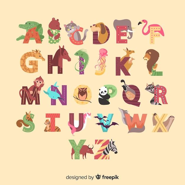 Alfabeto animal de la a a la z ilustrado vector gratuito