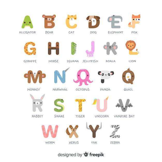 Alfabeto animal de la a a la z vector gratuito