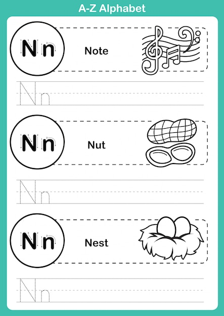 Alfabeto az ejercicio con vocabulario de dibujos animados para colorear libro Vector Premium