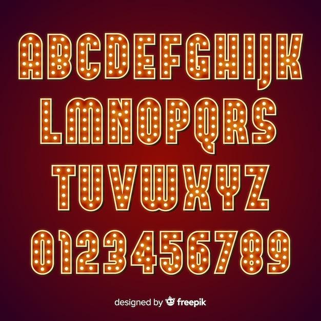 Alfabeto de bombilla de teatro vector gratuito