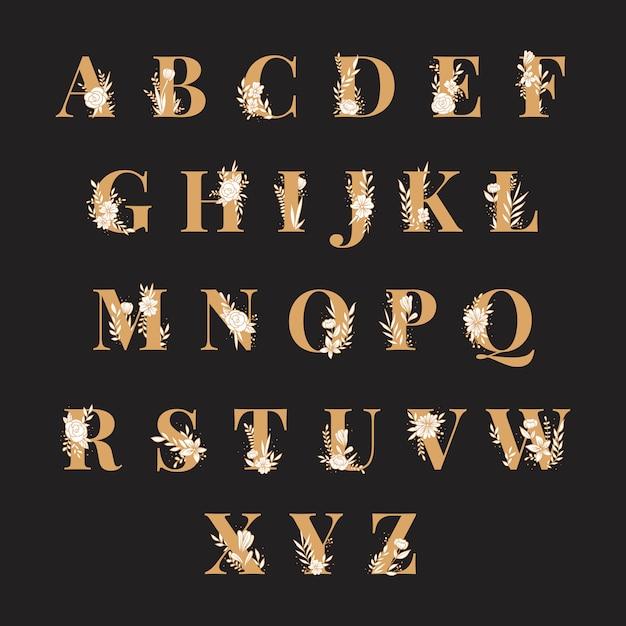 Alfabeto botánico mayúsculas vector conjunto vector gratuito