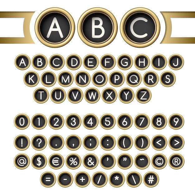 Alfabeto de botones de máquina de escribir Vector Premium