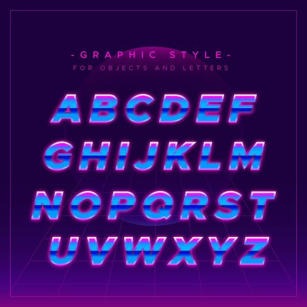 Alfabeto brillante en estilo neón vector gratuito