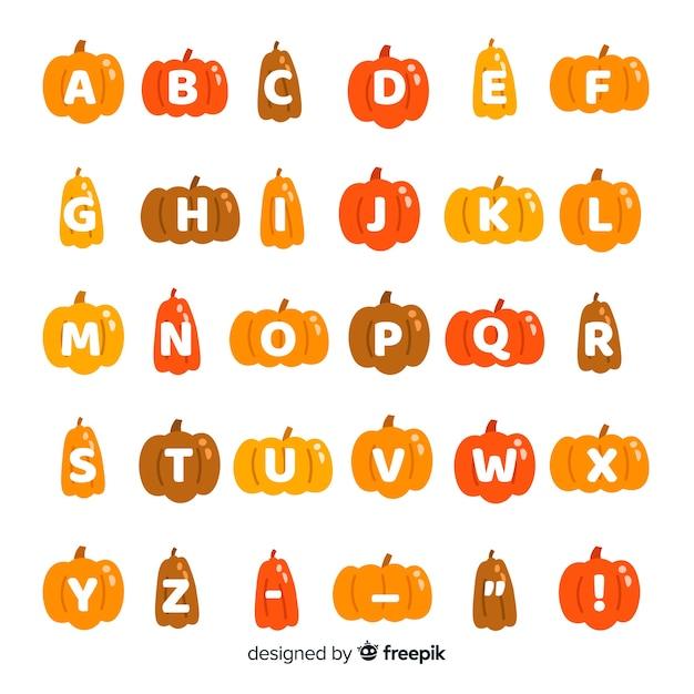 Alfabeto de calabaza de evento de halloween vector gratuito