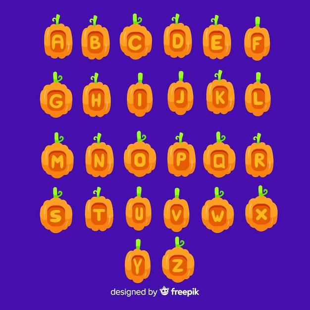 Alfabeto de calabaza de halloween vector gratuito