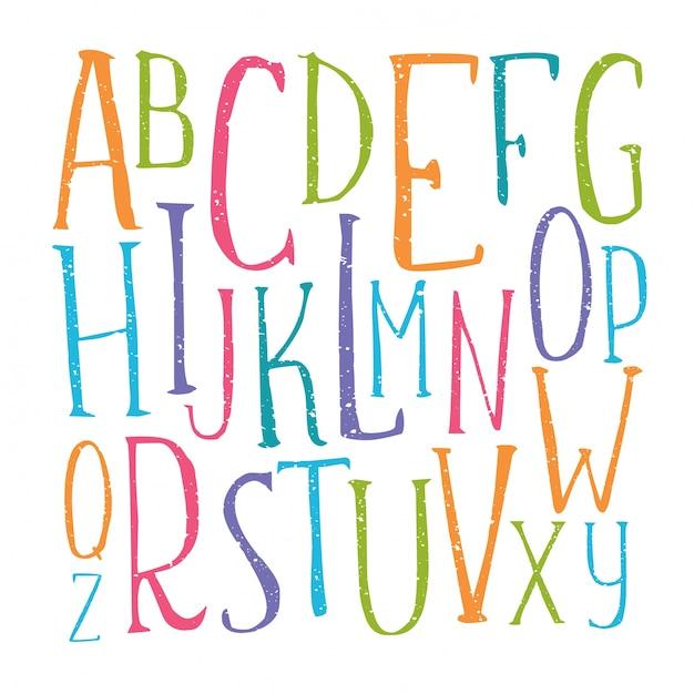 Alfabeto de color manuscrita vector gratuito