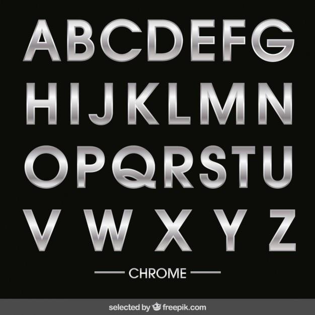 Alfabeto cromado vector gratuito