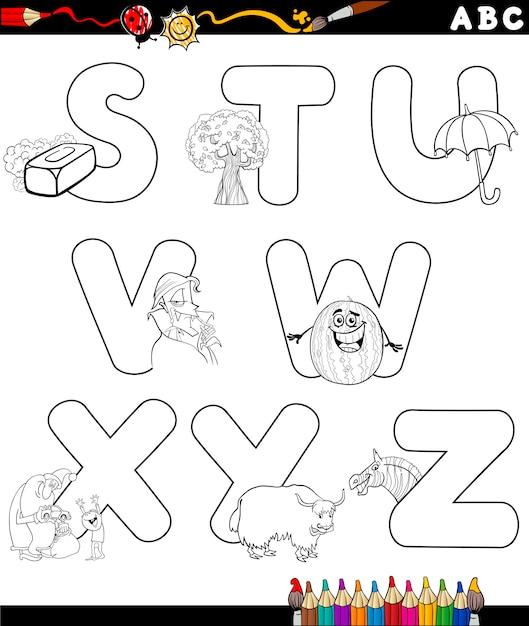 Alfabeto de dibujos animados para colorear libro | Descargar ...