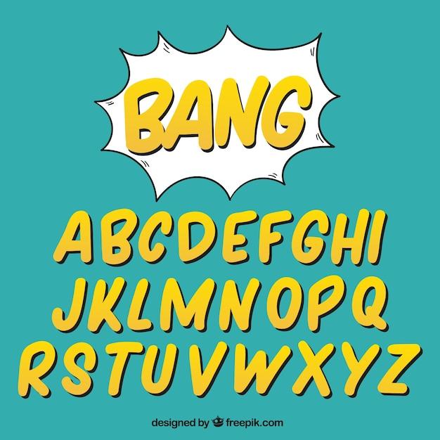 Alfabeto de letras amarillas en estilo comic descargar for Estilos de letras