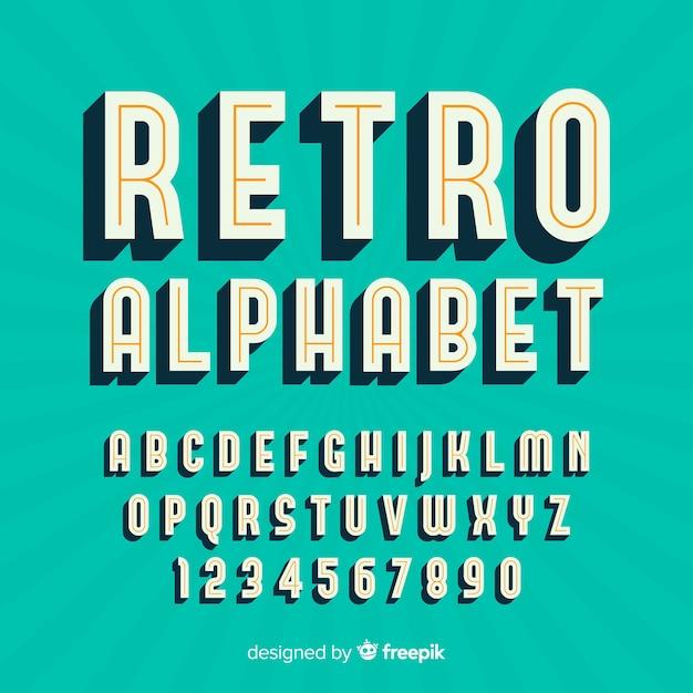 Alfabeto decorativo plantilla estilo retro vector gratuito