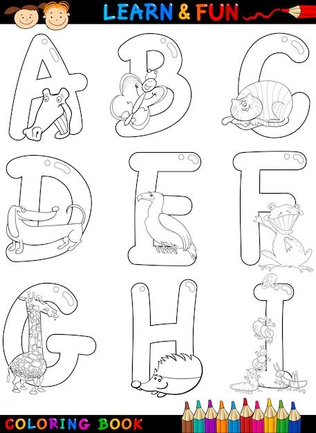 Alfabeto de dibujos animados con animales para colorear | Descargar ...