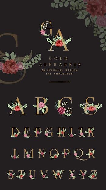 Alfabeto dorado colección con adornos florales. Vector Premium