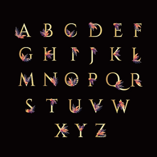 Alfabeto dorado con flores elegantes vector gratuito