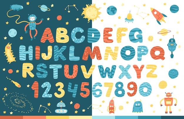 Alfabeto espacial en estilo de dibujos animados. números y letras cómicas divertidas de vector. se ve muy bien en el fondo blanco y oscuro. ilustración moderna para niños, guardería, póster, tarjeta, fiesta de cumpleaños, camisetas para bebés Vector Premium