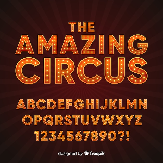 Alfabeto estilo circo vector gratuito