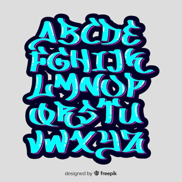 Alfabeto en estilo graffiti vector gratuito