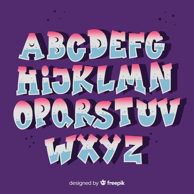 Alfabeto de estilo grafiti vector gratuito