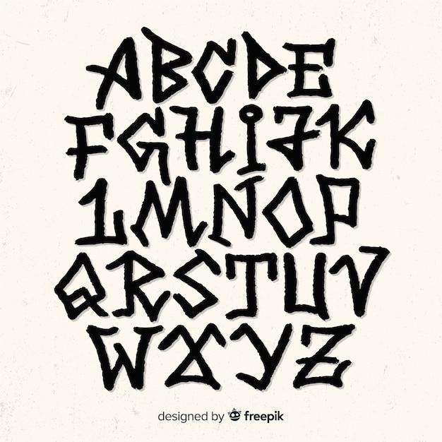 Alfabeto estilo grafiti vector gratuito