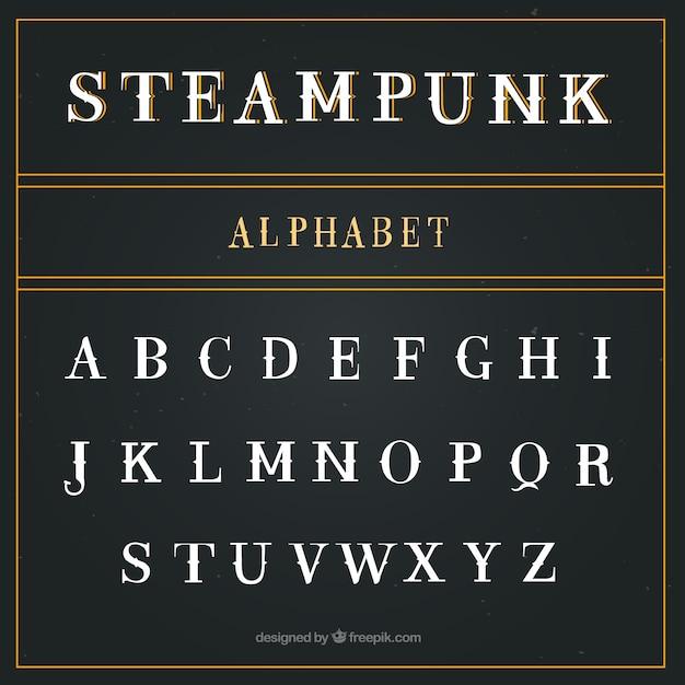 Alfabeto en estilo steampunk vector gratuito