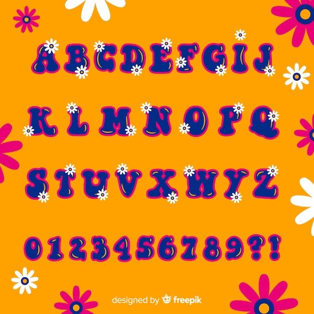 Alfabeto floral estilo años 60 vector gratuito