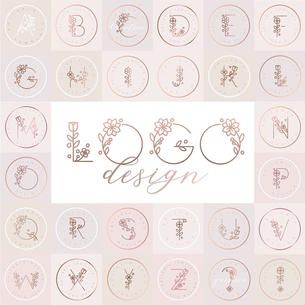 Alfabeto floral con plantillas de diseño de logotipo editable Vector Premium