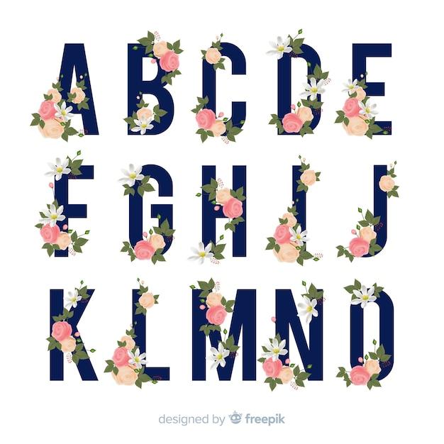 Alfabeto floral vector gratuito