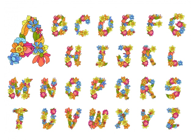 Alfabeto de flores de colores vector gratuito