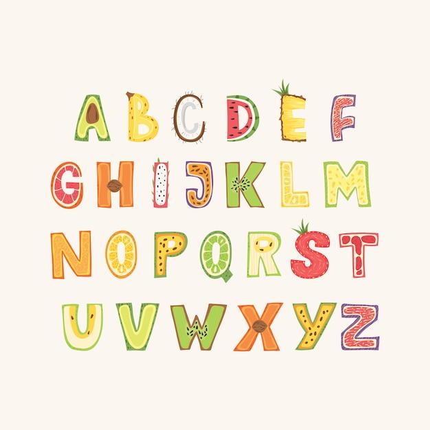 Alfabeto de frutas - diseño de letras. tipografía capital en estilo escandinavo. ilustración vectorial Vector Premium