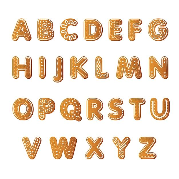 Alfabeto de galletas de jengibre vector gratuito