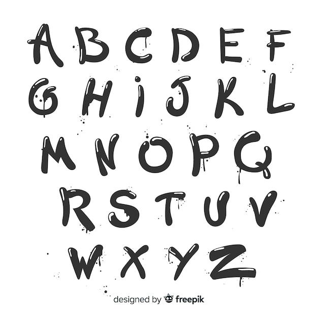 Alfabeto graffiti vector gratuito