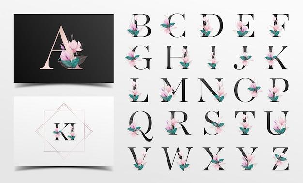 Alfabeto con hermosa acuarela floral decorativa Vector Premium